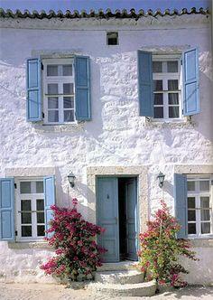 Framework Santorini by Vincenzo Abbot Greek Decor, Blue Shutters, Wooden Shutters, Greek House, Stone Houses, Farmhouse Plans, Coastal Homes, House Goals, Windows And Doors