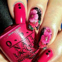 Stunning Pink Floral Nail Art ❤