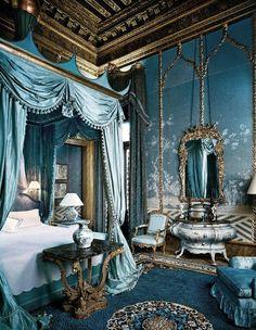 Bedroom in sky-blue color, Venice, Italy