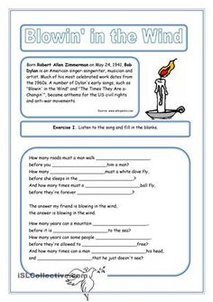 Yet another listening/lyrics wrks from the series I've been preparing for my Ss. This time... the famous Bob Dylan song! - ESL worksheets