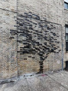 """itscolossal: """"Trees Grow from Bricks and a Storefront on the Streets of New Yo.itscolossal: """"Trees Grow from Bricks and a Storefront on the Streets of New York by Pejac """" 19 Ceramic roof tiles REQUEST QUOTES / CATALOGUES Find pro. Brick Design, Facade Design, Exterior Design, House Design, Wall Design, Brick Architecture, Landscape Architecture, Interior Architecture, Brick Interior"""