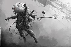 Victoria, BC-based Derek Stenning creates otherworldly compositions. Astronauts circling space stations in the future, floating in space, falling into deeper outer space are all the situations in the highly detailed work, as well as some remarkable space suit construction.