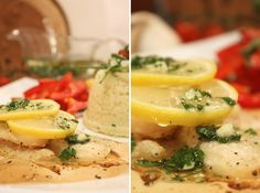Mediterranean autumn: roasted pangasius fillet with lemon slices and sauce made from olive oil, chopped garlic and fresh parsley. Best served with couscous, sweet paprika and cherry tomatoes.