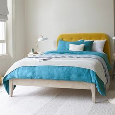 Need a flexible bed for a tight spot? This beauty's handmade in our favourite beached timber. Keep it simple or add a loafy headboard. White Bed Sheets, White Bedding, Linen Bedding, Pleated Curtains, Curtains With Blinds, French Bed, Curtain Accessories, Comfy Sofa, Pencil Pleat