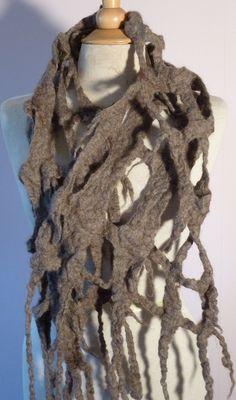 Almond felted lattice shawl