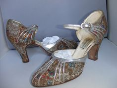 Lewisella,1930's brocade shoes trimmed with silver kid by John Lewis.
