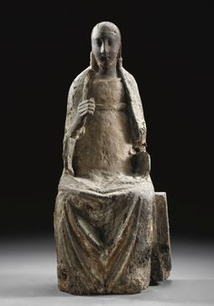 NORTH ITALIAN, MID 14TH CENTURY, A POLYCHROME WOOD FIGURE OF THE SEATED VIRGIN,GUILDING AND PAINTING TRACES Madonna, High Middle Ages, Statues, Effigy, Medieval Art, Romanesque, Sacred Art, Gothic Art, 14th Century