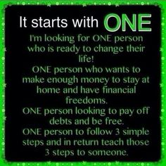 It Starts With One!!!! Looking for people to join my team, inbox me if interested!!! www.LightsCameraWrapIt.com
