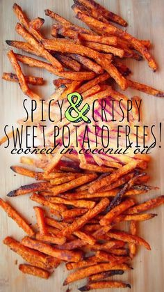 Healthy Spicy & Crispy Sweet Potato Fries Cooked In Coconut Oil