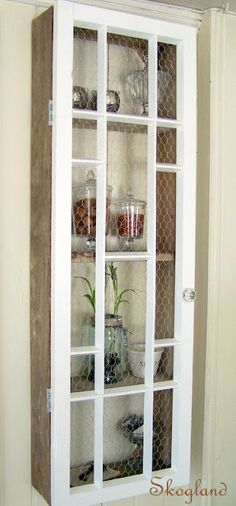 Cool idea - chicken wire and old window into display case ; shelves ; storage & organization