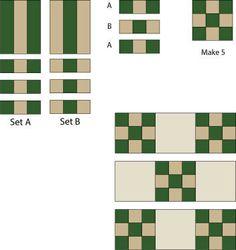 Make strip sets, cut segments and assemble the Double Nine Patch quilt block.