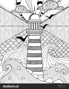 Hand Drawn Artistically Ethnic Ornamental Patterned Lighthouse With Clouds In Doodle, Zentangle Tribal Style For Adult Coloring Book, Pages, Tattoo, T-Shirt Or Prints. Sea Vector Illustration. - 360313925 : Shutterstock