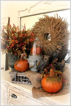 The Fancy Shack - Fall decor - wheat wreath & owls