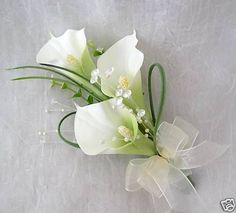 LADIES CALA LILY CORSAGE, WEDDING FLOWERS, BOUQUETS in Flowers, Petals & Garlands | eBay