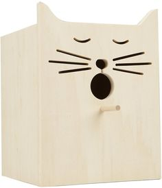 What a fun birdhouse! The bird has to fly right into the cats mouth!