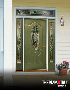 Therma Tru Smooth Star Fiberglass Door With Wellesley Decorative Glass.