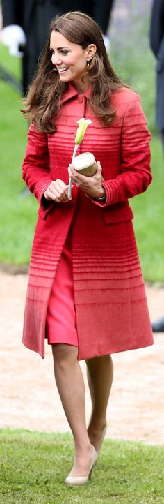 While visiting the Macrosty Park in Crieff, Kate Middleton debuted her latest topper: an ombré red design.