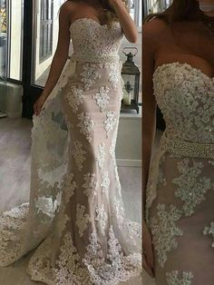 Sweetheart Neck Nude Inside Ivory Lace with Beaded Mermaid Wedding Dresses SWD010