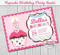 Cupcake Age Candle Birthday Party Invite by SmartyPartyDesigns