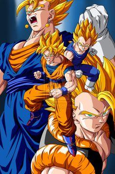 Goku y Vegeta  Vegetto y Gogeta