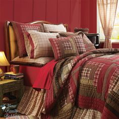 Log Bed Comforter Sets | ... -Log-Cabin-Plaid-Twin-Queen-Cal-King-Size-Lodge-Quilt-Bedding-Bed-Set