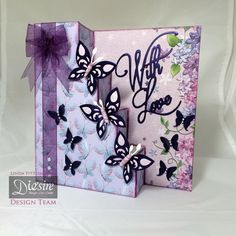 Linda Fitzsimmons - Butterfly Lullaby Dies: With Love & Flit & Flutter - Papers from Butterfly Lullaby 12x12 pad - Centura Pearl Deep Purple - Stick-it, Collall Tacky Glue and 3D Glue gel - Glitter, gems,  Mirri card and Ribbon. #crafterscompanion