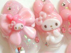 Japanese nail art My melody and Hello Kitty by ohimenail on Etsy, $22.00