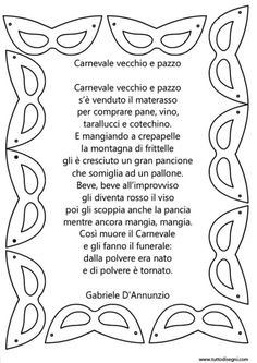filastrocca-carnevale-d-annunzio Youth Center, College Board, Holidays And Events, Fairy Tales, Decoupage, Projects To Try, Student, Teaching, Words