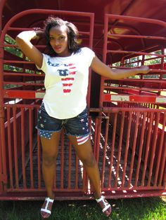 American Bull T-Shirt - White - 4th of July Outfit Ideas -on sale at Anna Laura's Boutique - miss me american flag jean shorts and white distressed american flag bull print graphic tee shirt t-shirt