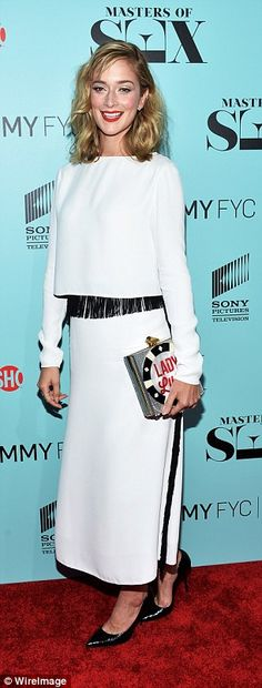 Caitlin Fitzgerald carries KOTUR's 10th Anniversary Limited Edition clutch the 'Masters Of Sex' special screening hosted by Showtime And Sony Pictures Television #caitlinfitzgerald #kotur #ladyluck #clutch #mastersofsex #screening #anniversary #exclusive #redcarpet