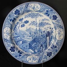 Wedgwood Plate, Blue Transferware Chinoiserie, Blue Palisade, Antique, Marked Wedgwood Only