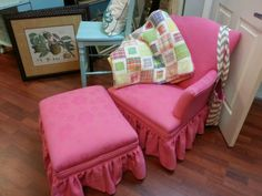 Pink Chair & Ottoman; not just for children; it's an old antique piece that can fit a small adult too!! Beautiful fabric!! $249.00!!