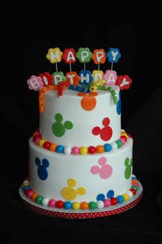 Mickey mouse birthday - BC with fondant mickey heads,and name, gumball border