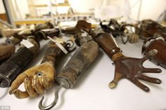 Prosthetic arms collected by Sir Henry Wellcome