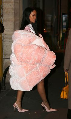 Taking cues from Gvasalia, there's no need to fear putting on that baggy, voluptuous coat you previously abhorred. Just look at Rihanna, who wore a cotton candy-colored, quilted variation by Ella Boucht during Paris fashion week this year.