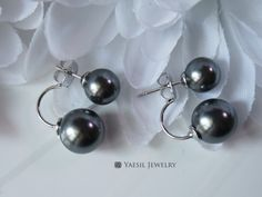Classic Double Pearl Earrings in Dark Grey, Sterling Silver Post, Quality Pearls, Fifty Shades of Grey Pearls by YaesilJewelry on Etsy Double Pearl Earrings, Fifty Shades Of Grey, Pearl Grey, Pearls, Sterling Silver, Dark, Trending Outfits, My Style, Unique Jewelry