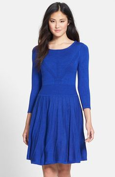 Vince Camuto Seamed Fit & Flare Sweater Dress   Nordstrom