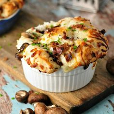 So simple - great for guests! Mushroom (Bacon) Pull Apart Bread @loavesanddishes.net