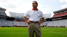 As the college football season kicks off this week, focus turns to the polls, the players and the predictions for the coaches get plenty of attention, too, considering all their accomplishments. Alabama Football, College Football Coaches, College Fun, Understanding Football, Alabama Coach, Nick Saban, Sports Pictures