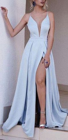Light Blue Spaghetti Split Prom Dresses 2017 Long Sexy A Line Evening Gowns