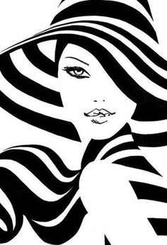 Spring Stripes - Plot Tutorial and Ideas Art Pop, Diamond Paint, Black Art, Black White, Black And White Painting, Belle Photo, Line Art, Fashion Art, Art Drawings