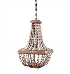 16-1/2 Square x 28H Metal Chandelier w/ Wood Beads (40 Watt Bulb Maximum, UL Listed)
