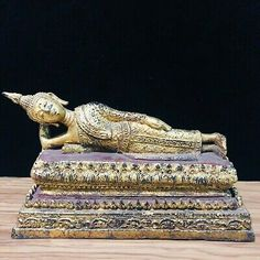 "7.6"" Long Thai Reclining Buddha Statue Gold Enter Into Nirvana Temple Amulet 