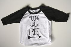 Kids 3/4 Sleeve Baseball Tee Young Wild Free | Paper Patch Design Co.