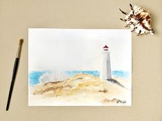 Seascape painting, Lighthouse Painting, Original painting, Lighthouse, Landscape Painting, Beach Painting, Watercolor painting, Beach decor   This is a Hand Painted Original Watercolor Artwork! Not a print.  Every painting or piece of my art is a small piece of me.. piece of my heart, soul