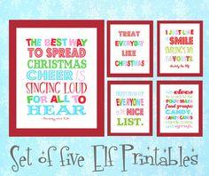 I love the movie Elf!! Set of Five Buddy the Elf Printables
