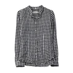 Checked Button Down ($405) ❤ liked on Polyvore featuring tops, shirts, blouses, plaid, tartan shirt, checkered shirt, plaid button up shirts, wrinkled shirt and checkered button up shirt