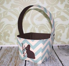 Boy Blue Chevron Easter Basket  Can Be by TinyRoseBoutique on Etsy, $28.00