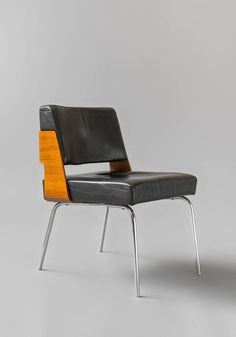 Antoine Philippon and Jacqueline Lecoq; #3004 Chromed Metal, Rosewood and Leather Chair for Huchers Minvielle, c1964.