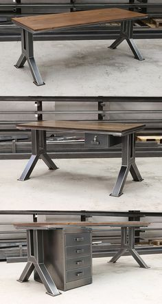 steel furniture The Engineering Desk (Model - first version of this popular industrial design. Available with a beautiful walnut or oak top surface and solid, chunky steel legs. The design pays homage to the great engineers like Brunel and Henry Ford. Welded Furniture, Industrial Design Furniture, Industrial Desk, Iron Furniture, Steel Furniture, Rustic Furniture, Vintage Furniture, Furniture Decor, Furniture Design